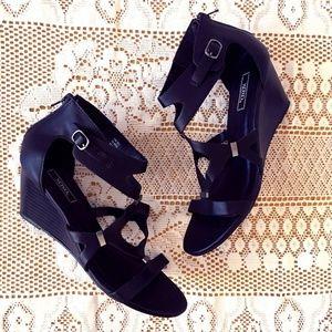 Black Wedge Dress Sandal